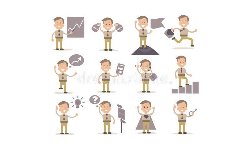 Grupo liso do vetor de homem de negócios em ações de trabalho diferentes Trabalhador de escritório ou gerente de banco bem sucedi ilustração do vetor