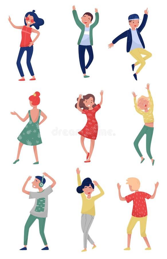 Grupo liso do vetor de jovens na ação da dança Estudantes que têm o divertimento no partido Meninas e indivíduos no equipamento à ilustração stock