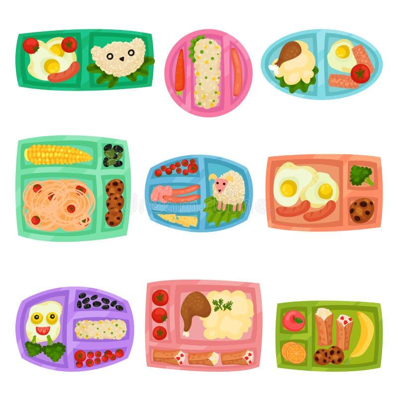 Grupo liso do vetor de lancheiras plásticas com alimento Recipientes com refeição Batatas trituradas, ovos fritos, arroz, frutos  ilustração do vetor