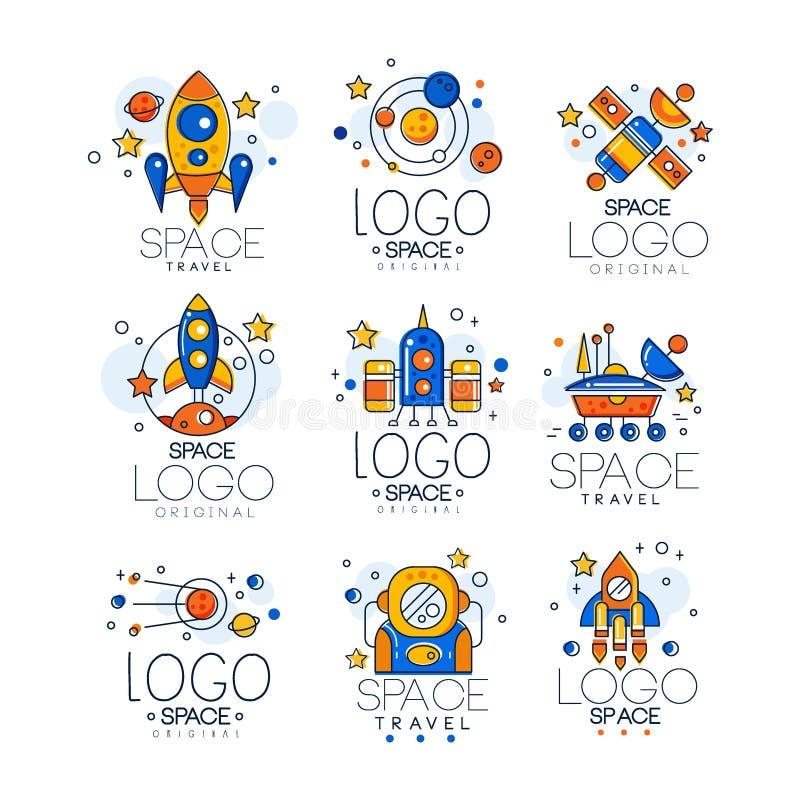 Grupo liso do vetor de logotipo do espaço linear com suficiência colorida Emblemas criativos com foguete, canela, pires estrangei ilustração do vetor
