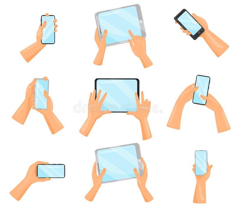 Grupo liso do vetor de mãos humanas com smartphones e tablet pc Dispositivos eletrônicos Dispositivos de Digitas ilustração stock