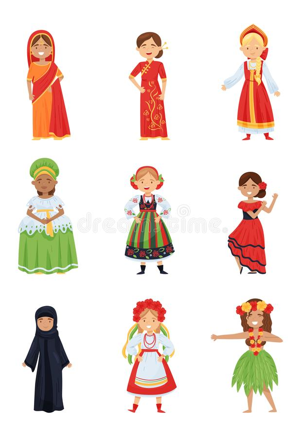 Grupo liso do vetor de meninas bonitos em trajes nacionais diferentes Crianças de sorriso na roupa tradicional de vários países ilustração do vetor