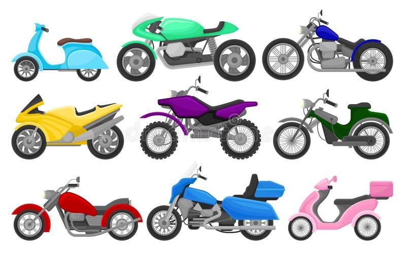 Grupo liso do vetor de motocicletas e de 'trotinette's coloridos Vintage e bicicletas rápidas do esporte Veículos motorizados de  ilustração royalty free