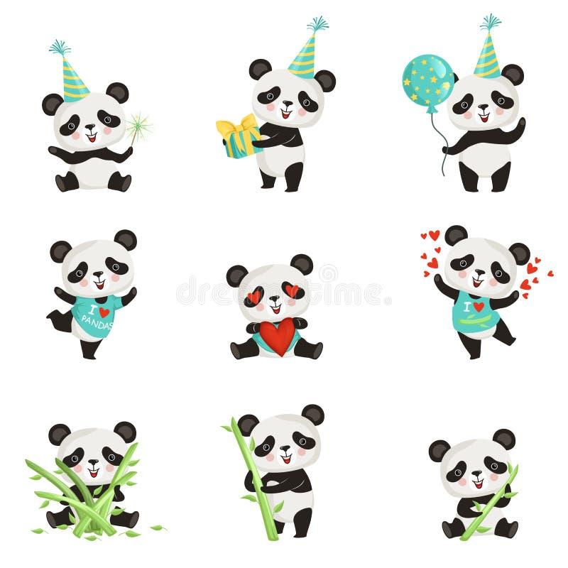 Grupo liso do vetor de panda pequena engraçada em várias situações Personagem de banda desenhada do urso de bambu bonito Projeto  ilustração stock