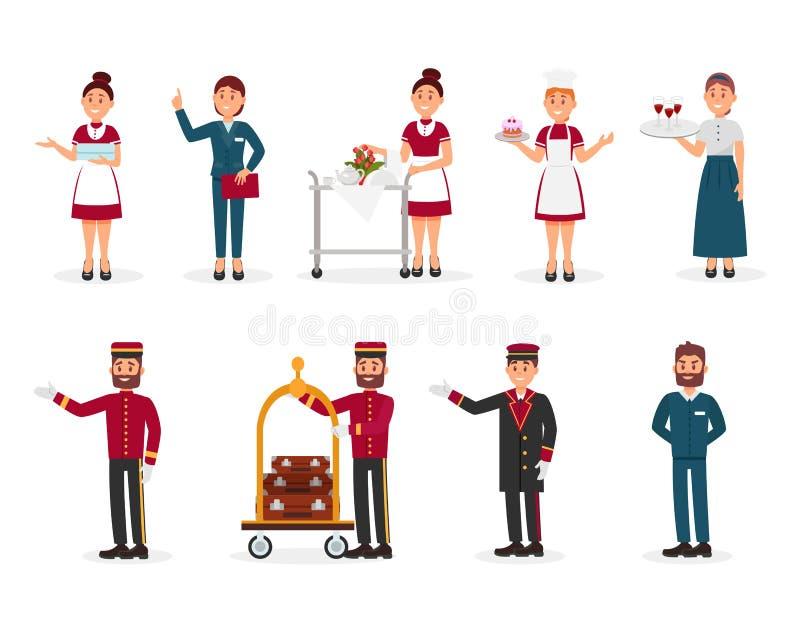 Grupo liso do vetor de pessoal do hotel Empregada doméstica com toalhas limpas, gerente, mandarete com trole da bagagem, porteiro ilustração do vetor
