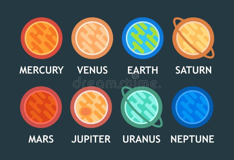 Grupo liso do vetor de planetas do sistema solar no estilo dos desenhos animados ilustração stock