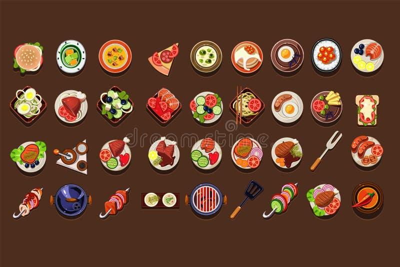 Grupo liso do vetor de pratos e de petiscos deliciosos Refeição saboroso Elementos tradicionais do café da manhã para o menu do r ilustração do vetor