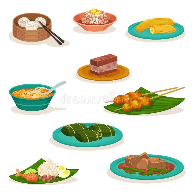Grupo liso do vetor de pratos malaios tradicionais Sobremesas e petiscos doces Alimento asiático ilustração royalty free