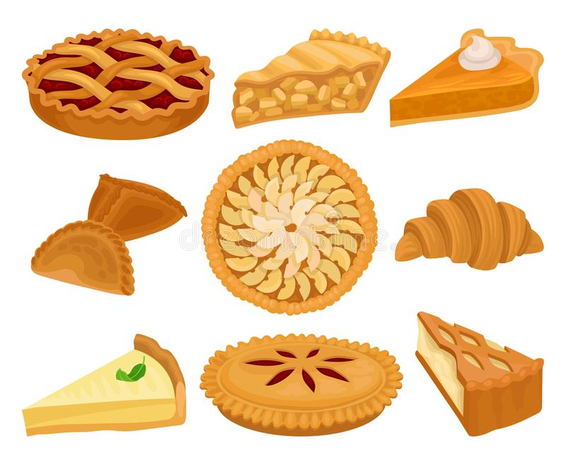 Grupo liso do vetor de produtos deliciosos da padaria Tortas com enchimentos diferentes, o croissant fresco e o bolo de queijo Al ilustração do vetor