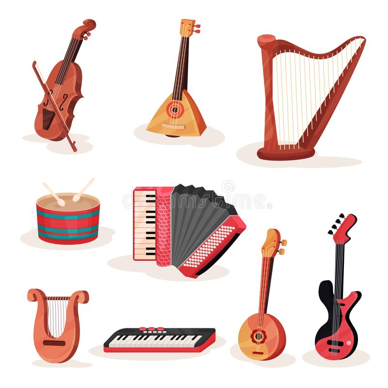 Grupo liso do vetor de várias cordas, de teclados e de instrumentos musicais da percussão Elemento para anunciar a bandeira ou ilustração royalty free