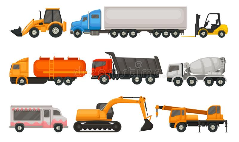 Grupo liso do vetor de vários tipos de veículos Semi caminhões, descarregador, camionete do alimento, trator, empilhadeira e cons ilustração royalty free