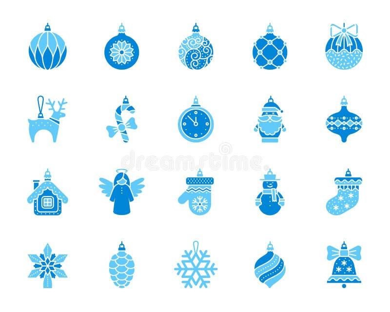 Grupo liso do vetor dos ícones da cor simples da decoração da árvore do Xmas ilustração do vetor