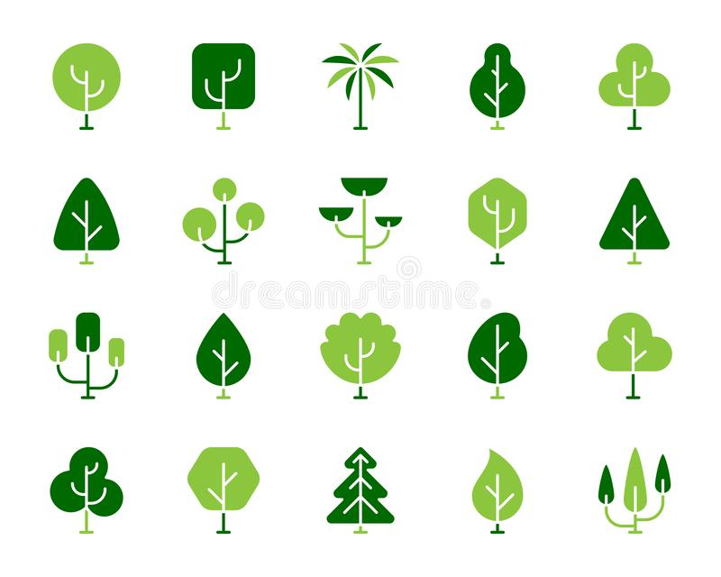 Grupo liso do vetor dos ícones da cor simples geométrica das árvores ilustração do vetor