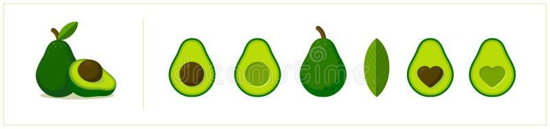 Grupo liso dos ícones do abacate do vetor Projeto dos desenhos animados Inteiro, meio, cortado Abacate com a semente da forma do  ilustração do vetor