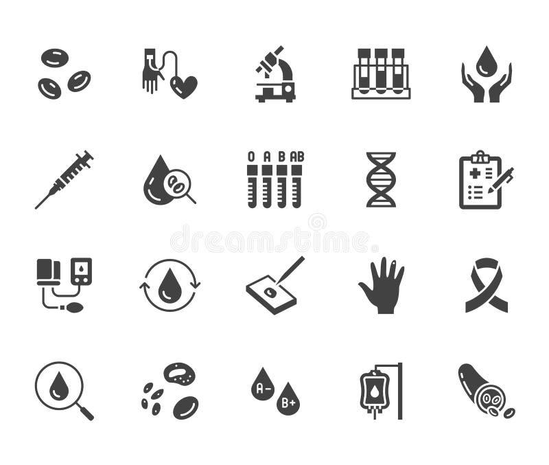 Grupo liso dos ícones do glyph da hematologia Glóbulo, embarcação, sphygmomanometer, teste do ADN, vetor bioquímico do microscópi ilustração do vetor