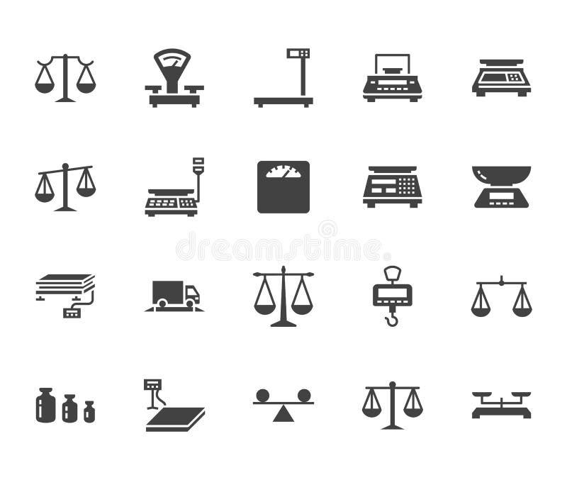 Grupo liso dos ícones do glyph do equilíbrio Ferramentas da medida do peso, escalas da dieta, comércio, calibração da escala elet ilustração stock