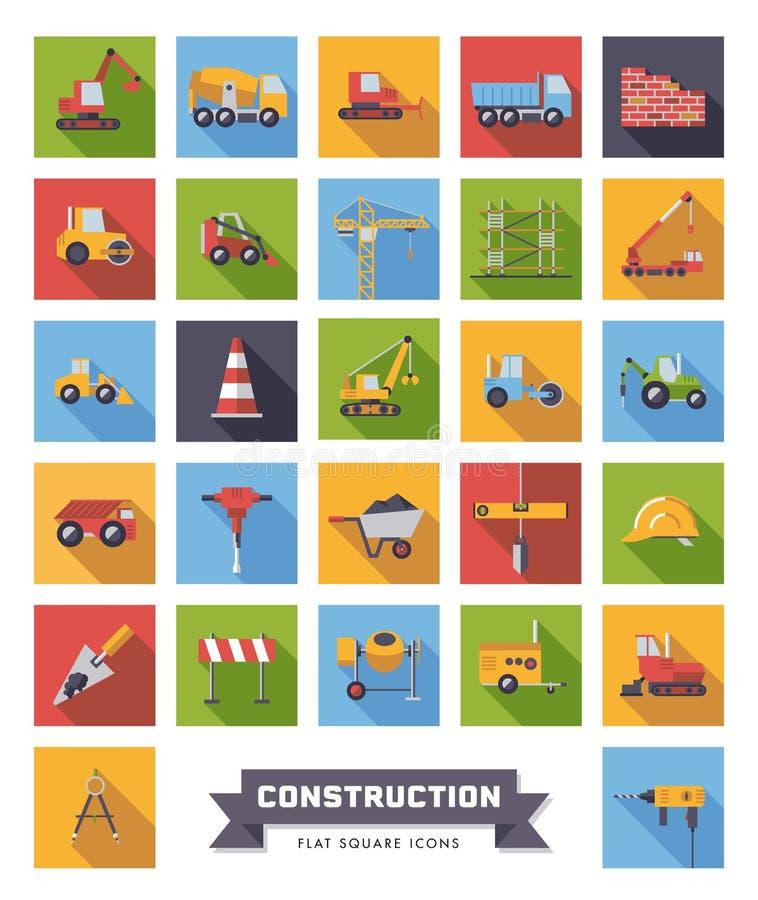 Grupo liso dos ícones do quadrado da indústria da construção civil do projeto ilustração do vetor