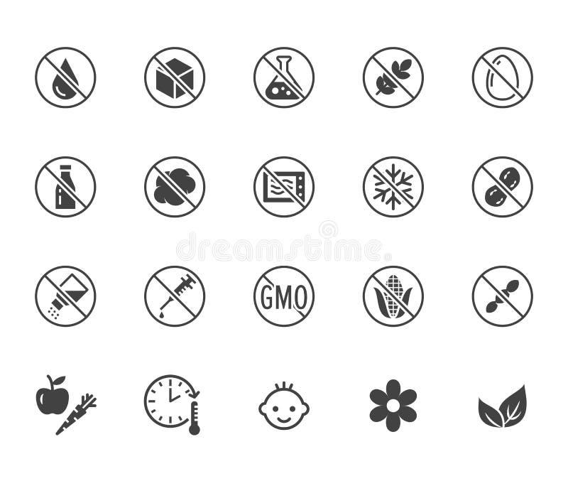 Grupo liso dos ?cones do glyph do alimento natural A??car, sem gl?ten, nenhumas gorduras do transporte, sal, ovo, porcas, ilustra ilustração do vetor