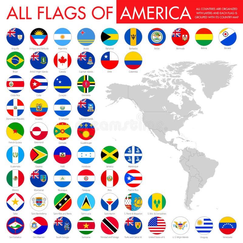 Grupo liso grande das bandeiras do botão - norte de América, central & sul ilustração royalty free