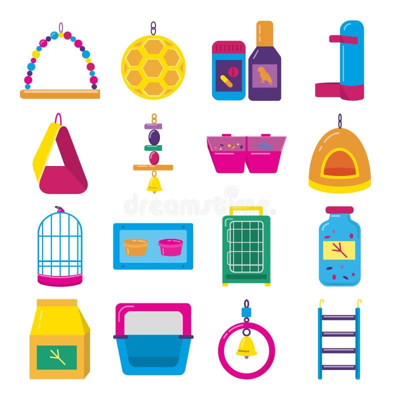 Grupo liso grande do ícone de acessórios para o pássaro na gaiola ilustração stock