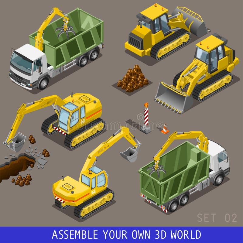 Grupo liso isométrico do ícone 3d do transporte da construção da cidade ilustração royalty free