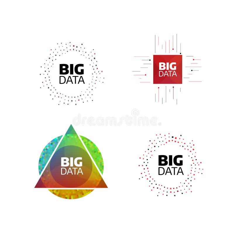 Grupo liso mínimo do ícone dos dados grandes Listras e linhas da forma do círculo com dígitos Ilustração do conceito de projeto d ilustração stock