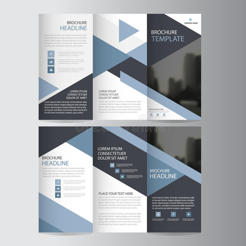 Grupo liso mínimo do projeto do vetor dobrável em três partes azul do molde do relatório do inseto do folheto do folheto do negóc ilustração royalty free