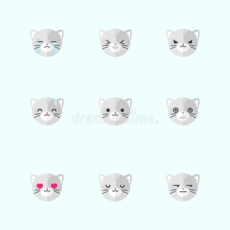 Grupo liso minimalistic do ícone das emoções do gato do vetor ilustração do vetor