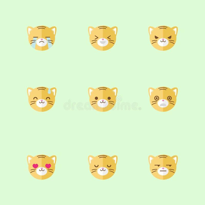 Grupo liso minimalistic do ícone das emoções do tigre do vetor ilustração royalty free