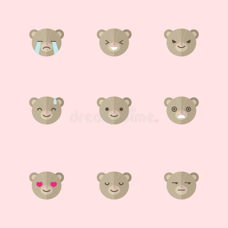 Grupo liso minimalistic do ícone das emoções do urso do vetor ilustração do vetor