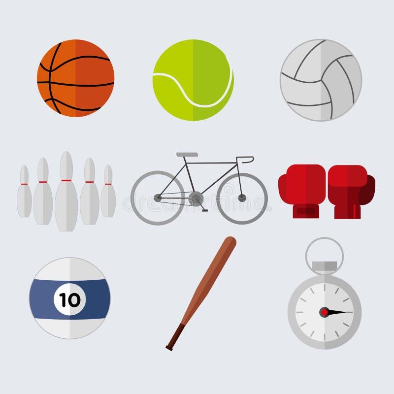 Grupo liso simples do gráfico da ilustração do vetor dos materiais do esporte do estilo ilustração royalty free