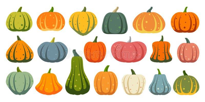 Grupo liso simples do vetor dos ícones da cor da abóbora ilustração do vetor