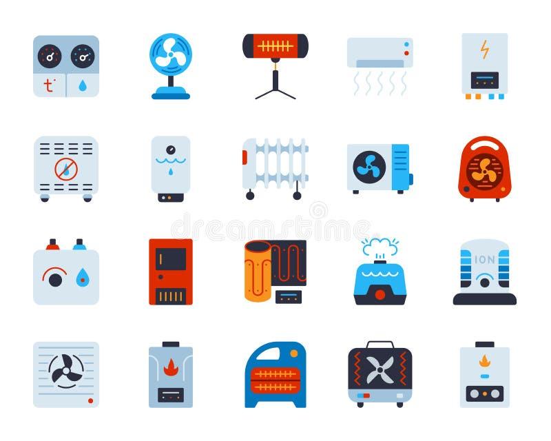 Grupo liso simples do vetor dos ícones da cor da ATAC ilustração stock
