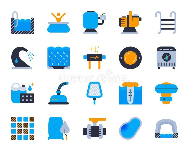 Grupo liso simples do vetor dos ícones da cor do equipamento da associação ilustração stock