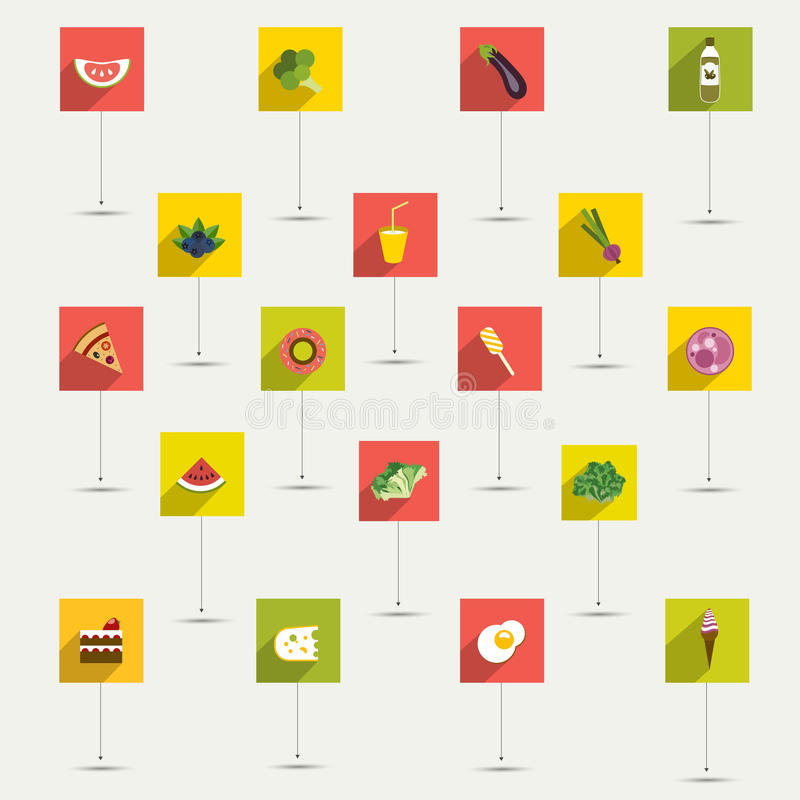 Grupo liso simplesmente minimalistic do ícone do símbolo do alimento e da dieta. ilustração stock