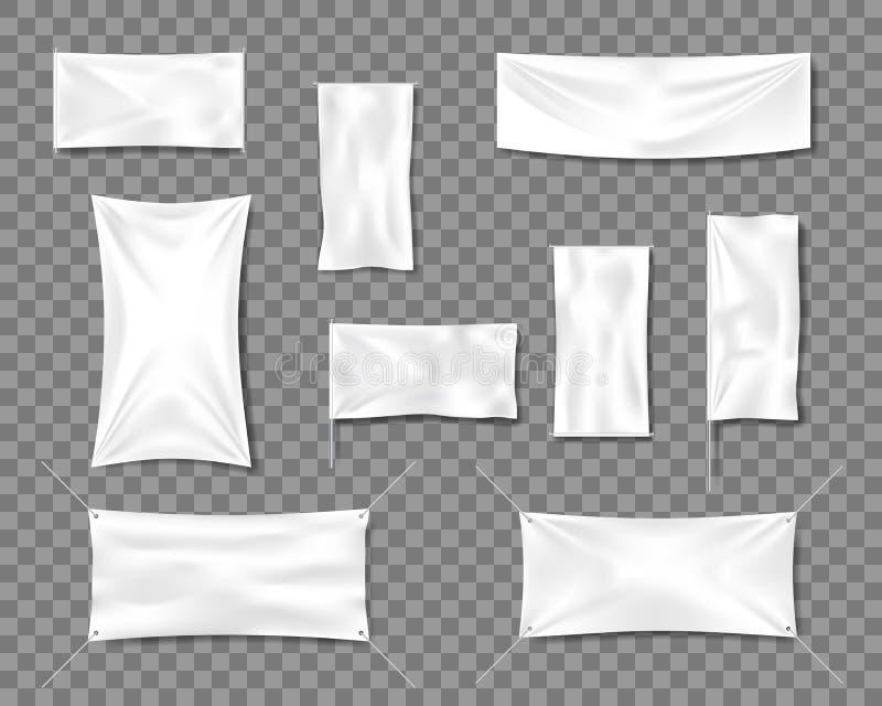 Grupo liso vazio branco dos moldes do cartaz ou do cartaz da bandeira do algod?o 3d detalhou bandeiras vazias de mat?ria t?xtil d ilustração do vetor
