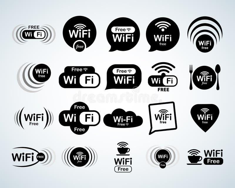 Grupo livre do logotipo do wifi Grupo livre dos sinais do wifi Símbolos de WiFi Ícones da rede wireless Zona de WiFi Navegação mo ilustração royalty free