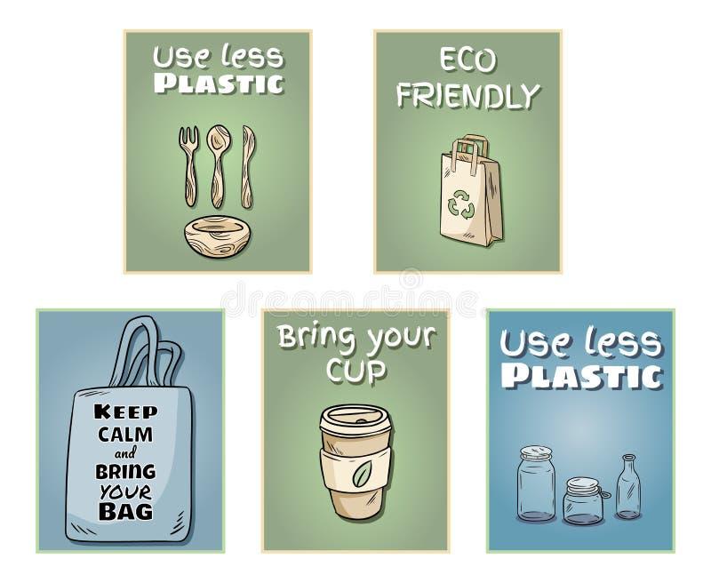 Grupo livre plástico de cartazes Frase inspirador Produto ecol?gico e do zero-desperd?cio Vai a vida verde ilustração stock