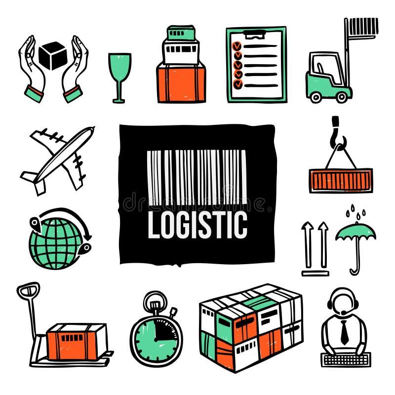 Grupo logístico do ícone ilustração stock