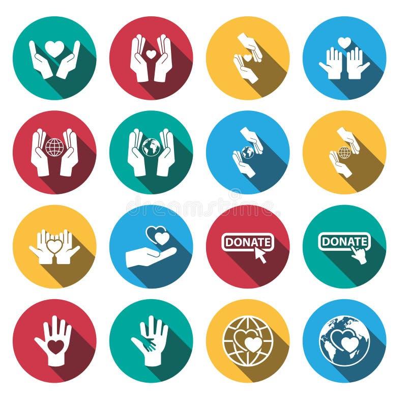 Grupo longo liso do ícone da caridade da sombra Vetor ilustração stock