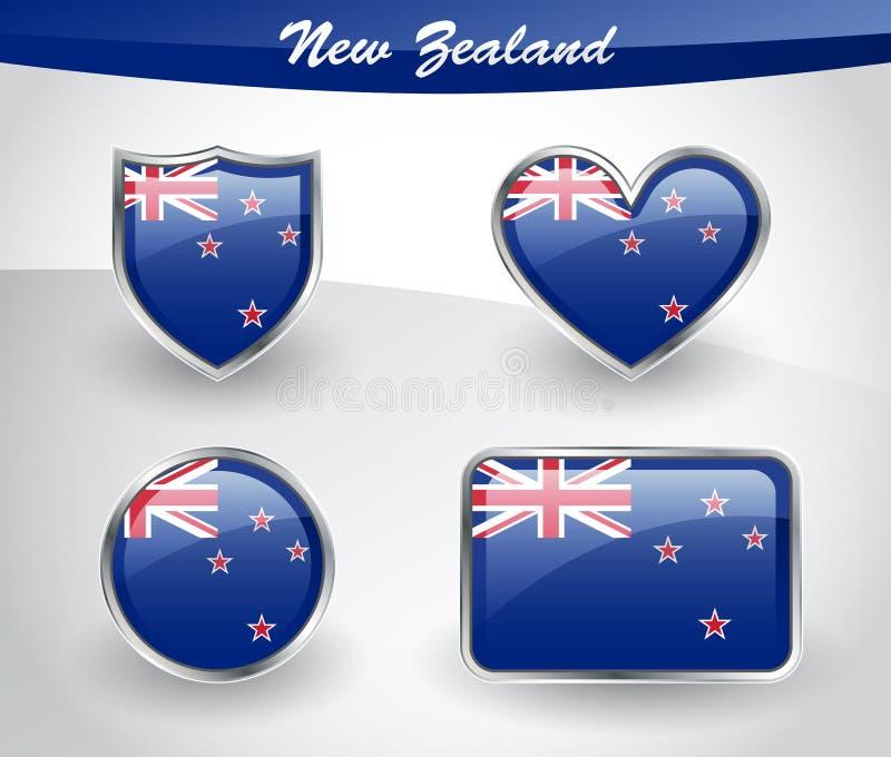 Grupo lustroso do ícone da bandeira de Nova Zelândia ilustração stock