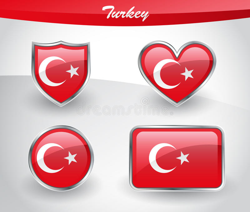 Grupo lustroso do ícone da bandeira de Turquia ilustração royalty free