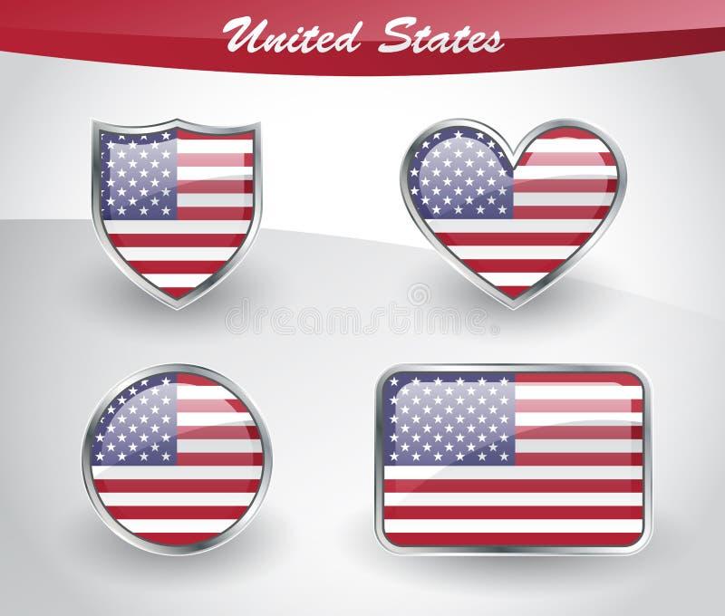 Grupo lustroso do ícone da bandeira do Estados Unidos ilustração stock