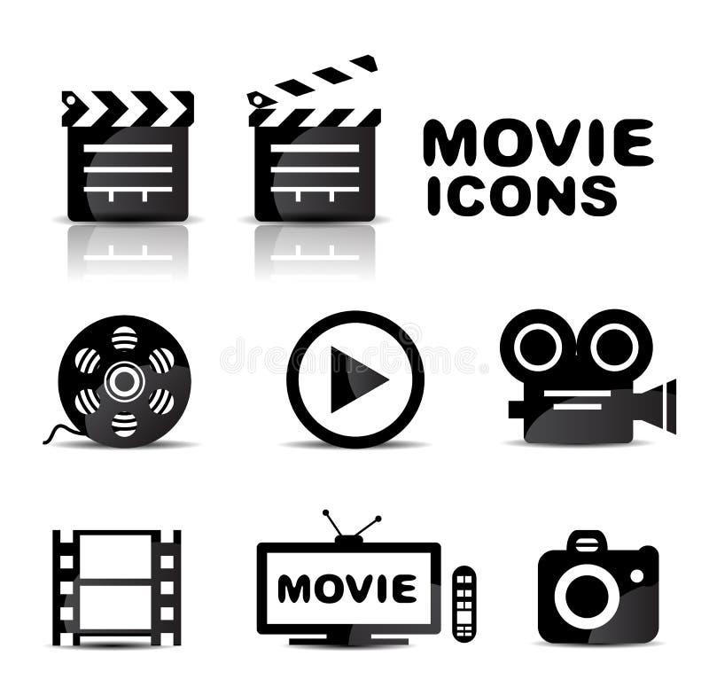 Grupo lustroso preto do ícone do filme ilustração do vetor