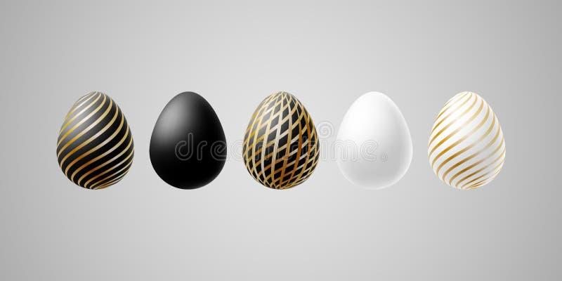 Grupo luxuoso moderno brilhante dos ovos da páscoa de ovo elegante do ouro preto branco com linhas espirais teste padrão em um pr ilustração stock