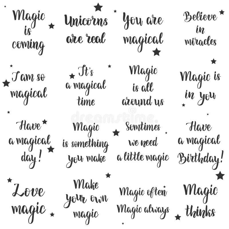 Grupo mágico da tipografia ilustração royalty free