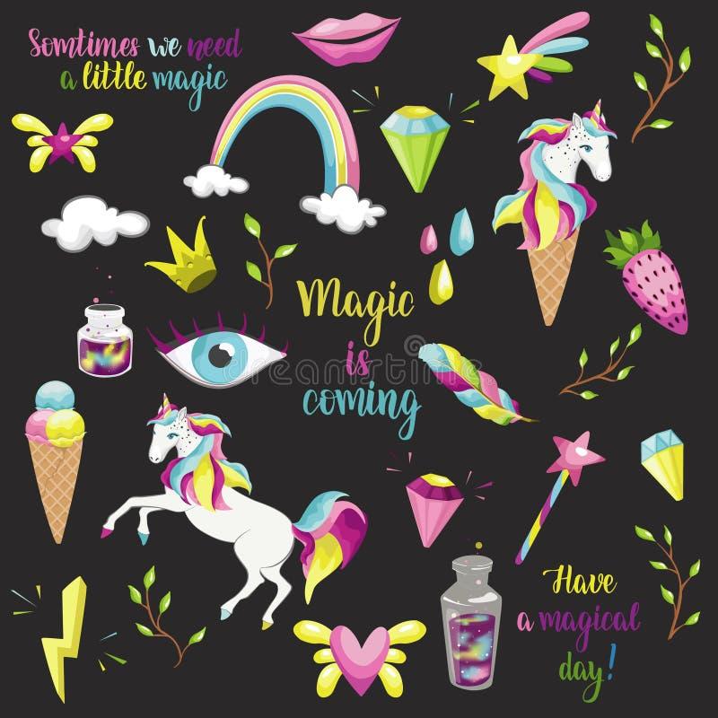 Grupo mágico da tipografia Emblemas do vetor, logotipo ilustração stock