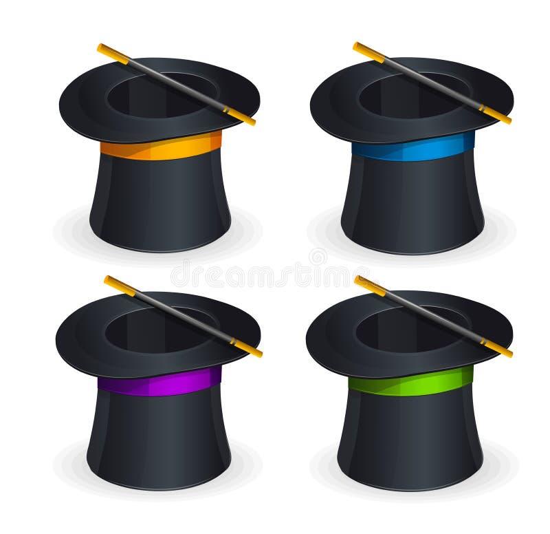 Grupo mágico do vetor dos chapéus ilustração do vetor