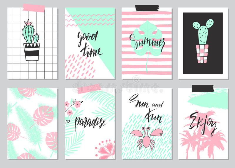 Grupo mão bonito de cartões de verão tirados, fundo Feriado, curso, tema das férias Papel de parede, insetos, convite, cartazes,  ilustração stock