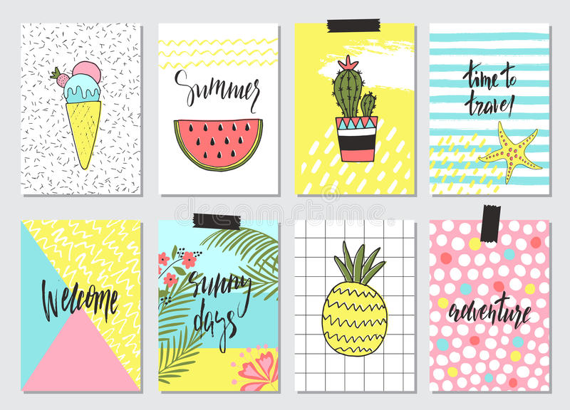 Grupo mão bonito de cartões de verão tirados, fundo Feriado, curso, tema das férias Papel de parede, insetos, convite, cartazes,  ilustração royalty free
